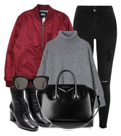 """Toronto"" by monmondefou ❤ liked on Polyvore featuring River Island, Stussy, Givenchy, Gentle Monster, black and red"
