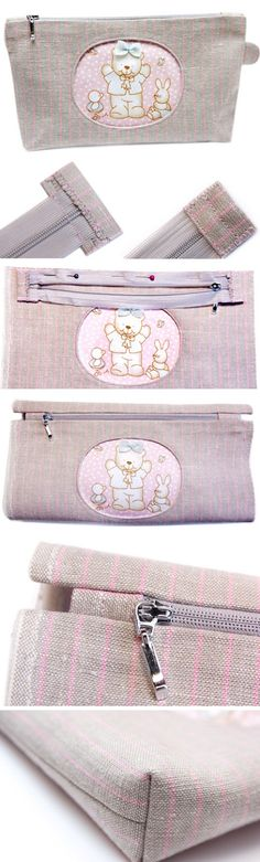 Zippered Cosmetic Bag Appliqué Teddy Bear. Tutorial DIY in Pictures. http://www.handmadiya.com/2015/11/cosmetic-bag-with-applique-bear.html Da usare per la rifinitura della zip