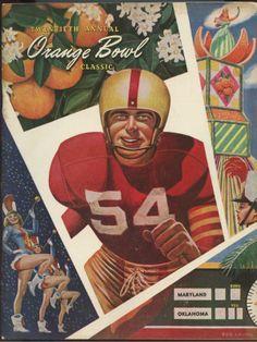 1954 ORANGE BOWL College Football Program OKLAHOMA vs. MARYLAND