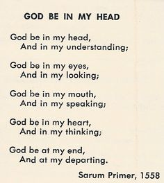 God Be In My Heart - Sarum Primer