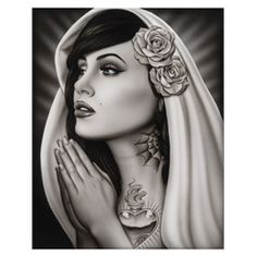 Tattooed Mary by Spider Catholic Tattoo Art Print. Adrian Castrejon is better known as Spider, and taught himself how to draw at a young age, spending hours a day practicing lifelike faces. Spider took to airbrushing at 20 and ran with it, doing work at quite a few car clubs in Orange County before deciding to take his art to yet another level by doing lifelike tattoos.