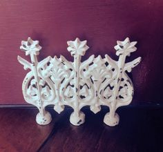 Distressed Ivory Cast Iron Door Stop/Bookend by DazzlingZelda
