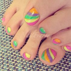Colorful, Stripy Toe Nail Design