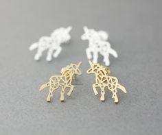 Earrings,Jewelry,cute,earring,Origami,zoo,unicorn,Unicorn earrings, horse jewelry,silver horse,unicorn stud,simple silhouette,nature animal,Animal silhouette,Unicorn earrings,horse earrings Adorable