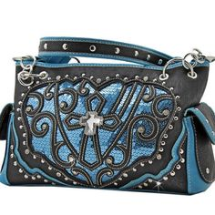 c38ccb16e0d400 BLACK BLUE DAZZLING SEQUINS RHINESTONE CROSS WESTERN PURSE HANDBAG SHOULDER  BAG  na  ShoulderBag