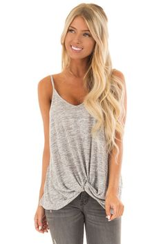 7d2d3c100cedd Heather Grey Tank Top With Bottom Twist - Lime Lush Boutique Silver  Outfits