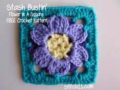 "Flower in a Square 5.5"" « The Yarn Box ~ free pattern"