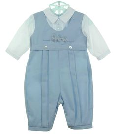 NEW Sarah Louise Blue and White Twill Romper with Embroidered Tow Truck $60.00