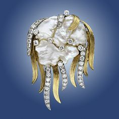 """spectacular creation - freshwater baroque pearl with gold and diamonds - """"jellyfish"""" pin/pendant    8,750.00"""