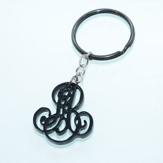 Black Keychain 2 Initials Monogram  1.5 inch by CardinalGift, $16.99