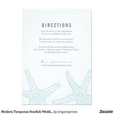 Modern Turquoise Starfish Wedding Information Card