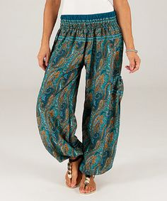 Look what I found on #zulily! Blue Paisley Harem Pants #zulilyfinds