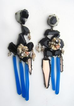 summer earrings- found objects, plexiglass, brass, fine silver by nikki couppee
