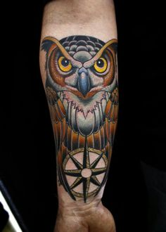 Owl tattoo by Dave Wah