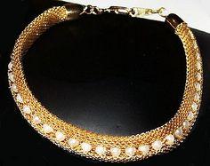 Pearl Gold Bracelet Mesh Metal Tennis Link by BrightgemsTreasures
