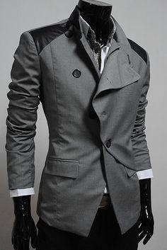 Grey Long Sleeve Men Casual Korean Style Blends Suit M/L/XL/XXL @X141419g