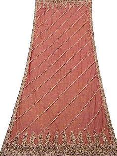 VINTAGE WEDDING DUPATTA LONG INDIAN SCARF NET BEADED FABRIC VEIL STOLE MAROON