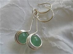 Spring Green Earrings in Stone and Silver by JoJosgems on Etsy
