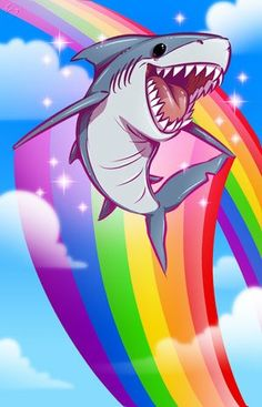 I know, but I couldn't resist he's just too cute for words.... Rainbow Shark! << Lisa Frank designs Shark Week
