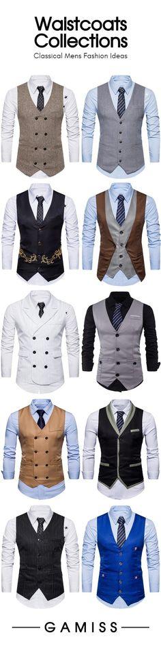 Waistcoat men - Waistcoats for males Stylish Mens Outfits, Casual Outfits, Fashion Outfits, Fashion Coat, Der Gentleman, Gentleman Style, Moda Formal, Waistcoat Men, Designer Suits For Men