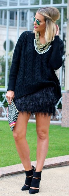 Street style Chic - Black Feather Mini Skirt by What Courtney Wore