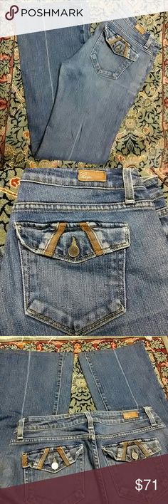 Paige Premium Denim Fairfax Jeans Size 29 Paige Premium Denim Fairfax Jeans size 29, leather trimmed back flap pockets and front coin pocket. Soft, factory distressed denim. Inseam measures approximately 30.5 inches. For all you Los Angelesphiles and geography enthusiasts, northbound Fairfax Avenue runs into Laurel Canyon. Paige Jeans Jeans Boot Cut