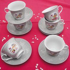 Έξι φλυτζάνια με τα πιατάκια τους για τον τσάι ή τον καφέ, από φίνα ευρωπαϊκή πορσελάνη, με σχέδια γκρι τριαντάφυλλα . Χωρητικότητα: 200ml Tea Cups, Tableware, Dinnerware, Tablewares, Dishes, Place Settings, Cup Of Tea