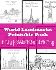 FREE World Landmarks Printables Pack Are you working on Geography? Only Passionate Curiosity has a FREE World Landmarks Printables pack. In this pack, you'll find 8 world landmarks: The Geography For Kids, Geography Activities, Geography Lessons, Teaching Geography, World Geography, Teaching History, History Education, Dinosaur Activities, Maria Montessori