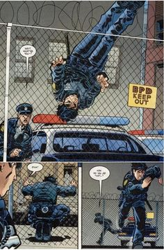 "Officer Grayson(old Robin, Nightwing, took over as Batman when Bruce Wayne ""died,"" now once again Nightwing"