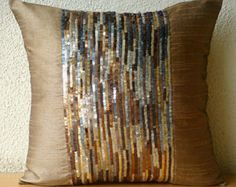 Decorative Throw Pillow Covers Accent Pillow by TheHomeCentric Leather Pillow, Silk Pillow, Sequin Bedding, Gold Pillows, Sewing Pillows, Pillow Sale, How To Make Pillows, Throw Pillow Covers, Cushion Covers