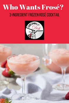 This not-too-sweet frosé is the perfect warm weather cocktail. With only three ingredients, it's refreshing, delicious and very easy to make. Frozen Cocktails, Summer Cocktails, Sugar Free Recipes, Easy Recipes, Keto Recipes, Healthy Recipes, Cocktail Recipes, Drink Recipes, Fruit Recipes
