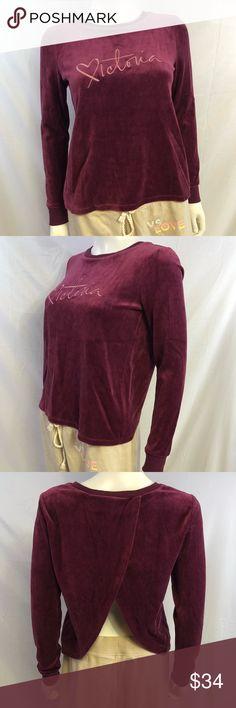 15c11351c2f Description  XS Victoria s Secret Soft Velvet Long Sleeve Shirt With Open  Back NWT.