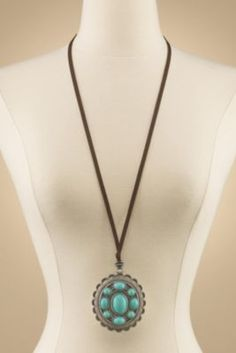 Tangier Necklace - Turquoise Pendant Necklace, Etched Silver Necklace | Soft Surroundings