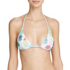 PilyQ Pina Colada Embellished Triangle Bikini Top ($89) ❤ liked on Polyvore featuring swimwear, bikinis, bikini tops, multi, triangle bikini, triangle swimwear, pineapple swimwear, embellished swimwear and bright bikinis
