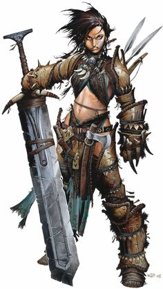 "Amiri by Wayne Renolyds. The barbarian ""Iconic"" character for Pathfinder. Iconic characters in Pathfinder illustrate the hows and whys of class to players both new and old, along with having their own place in the setting."