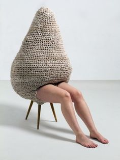 """Interior"" by Sandra Becker, Photography by Petrov Ahner Arte Fashion, Textiles, Art Bag, Art Textile, Yarn Bombing, Weird Fashion, Modern Artists, Soft Sculpture, Installation Art"