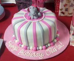 Olivias Elephant Birthday Cake cakepins.com