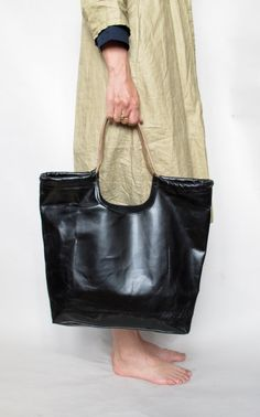 hand made Black leather tote by amykreiling on Etsy