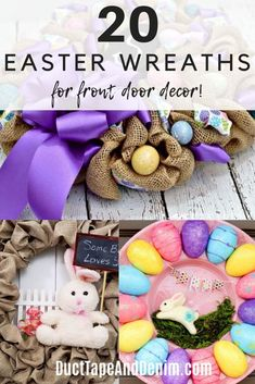 Don't forget to decorate your front door for Easter! Check out these 20 easy Easter wreath DIY ideas. Front Door Decor, Wreaths For Front Door, Diy Wreath, Burlap Wreath, Diy Easter Decorations, Easter Wreaths, Diy Ideas, Craft Ideas, Spring Crafts