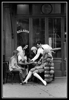 Models in 60s fashion at a bistro, photo by Pierre Boulat, Paris, 1968