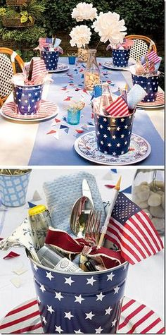 July 4th picnic table setting - add stick-on stars to painted blue pails, tie cutlery with red ribbon, add a small flag...
