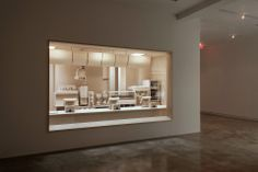Carcass, 2013 – Roxy Paine Studio: a life-sized fast food kitchen carved entirely out of maple and birch wood. Kitchen Carcasses, Mixed Grill, Kitchen Units, Roxy, Milkshake, Sculpture Art, Birch, Cube, Carving