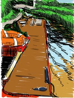 Craig Longmuir, 'Canal Boat on the Llangollen Canal', ipad drawing from observation. Boat Drawing, Sketchbook Pro, Canal Boat, Ipad, Digital, Drawings, Painting, Student, Art