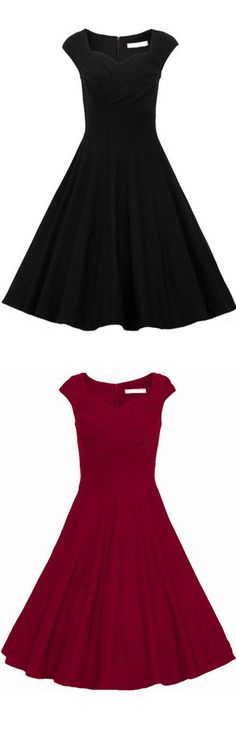 Classic vintage plain black a line dress at romwe.com.So beautiful dress for going out and as any occassion dress !Love!: