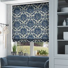 The Shona Royal Blue roman blind has one of those patterns that's a hybrid between styles, bringing a sense of uniqueness and interest to a room. br br It feels part floral, part damask, with a lo. Blue Roman Blinds, Damask, Royal Blue, Bedroom Decor, Cottage, Curtains, Living Room, Home Decor, Blinds