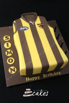 AFL Hawthorn Jersey Cake 2015 hang on it's a gurnsey. birthday cake for kids and adults.