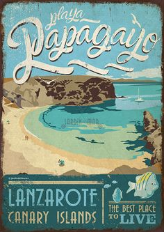 Handmade drawing of vintage signs. Papagayo - Lanzarote Jardín del Mar - Artesanos Lanzarote #drawing #vintage #wooden #signs #artesania #lanzarote #papagayo #canaryislands Wooden Signs With Sayings, Custom Wooden Signs, Luggage Labels, Famous Places, Canary Islands, Old Postcards, New Travel, Vintage Travel Posters, Strand