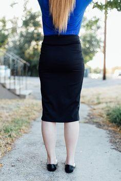 Cleo Madison- Black pencil skirt back