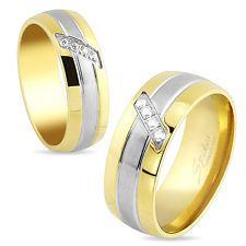 Stainless Steel Multi paved CZ Gemstones Center Gold IP Men's Ring Wedding Band