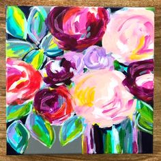 Learn the easy way to paint abstract flowers with acrylic paint on canvas with artist Elle Byers. Easy flower painting tutorials with step by step instructions for beginners. Wine And Canvas, Mini Canvas Art, Acrylic Painting Inspiration, Acrylic Painting Canvas, Knife Painting, Paint My Photo, Abstract Flowers, Painting Flowers, Abstract Art